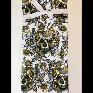 2 Halloween Skull Roses Gold Glitter Kitchen Towel